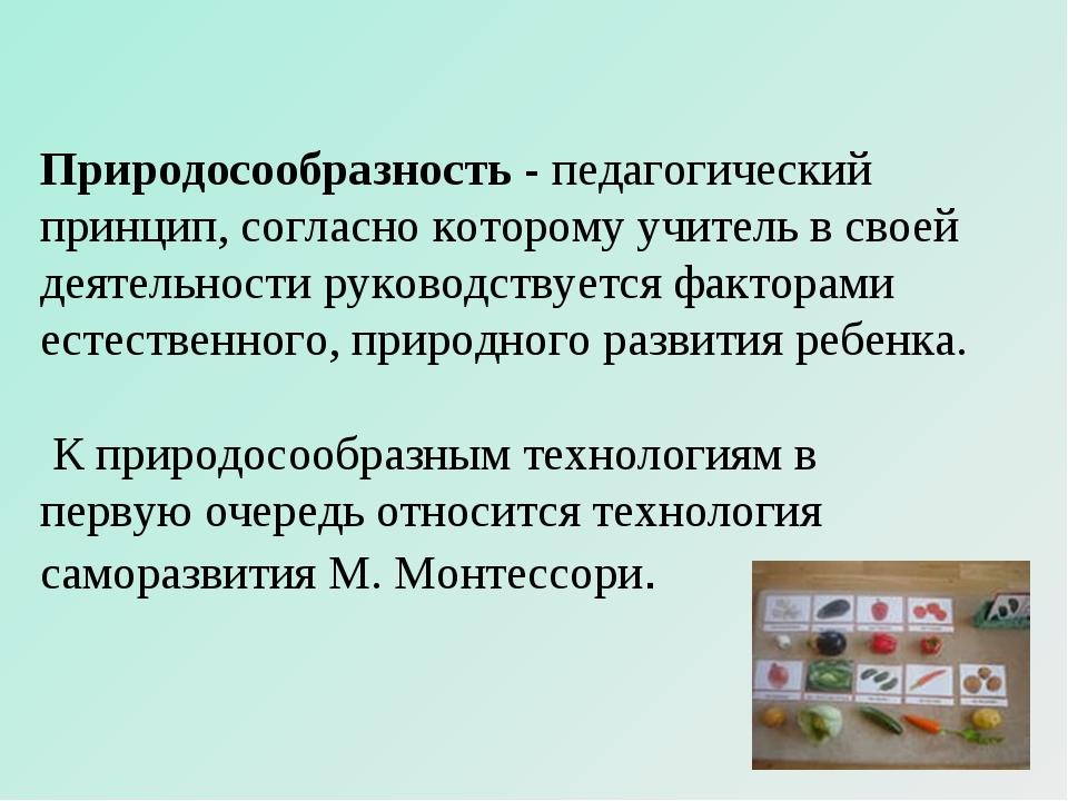 Природосообразность - педагогический принцип, согласно которому учитель в сво...