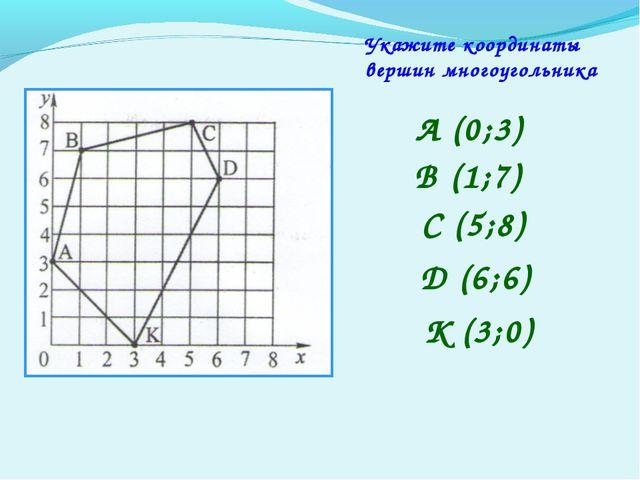 Укажите координаты вершин многоугольника А (0;3) В (1;7) С (5;8) D (6;6) K (3...