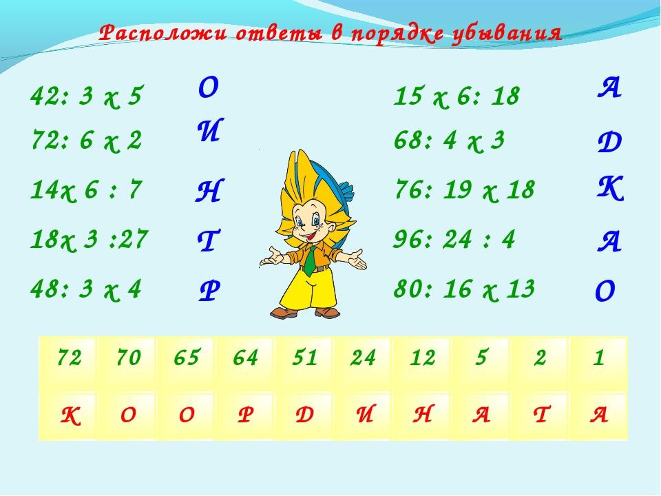 Расположи ответы в порядке убывания 42: 3 х 5 80: 16 х 13 72: 6 х 2 96: 24 :...
