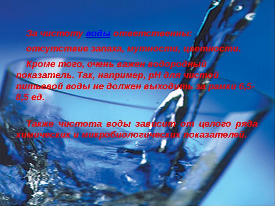 За чистоту воды ответственны: отсутствие запаха, мутности, цветности. Кр...
