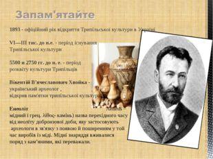 1893 - офіційний рік відкриття Трипільської культурив Україні VI—III тис. д