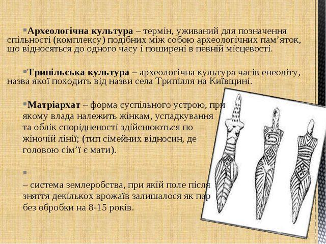 Археологічна культура – термін, уживаний для позначення спільності (комплексу...