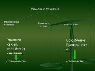 СОЦИАЛЬНЫЕ ОТНОШЕНИЯ Межличностные отношения Личностно - групповые межгруппов