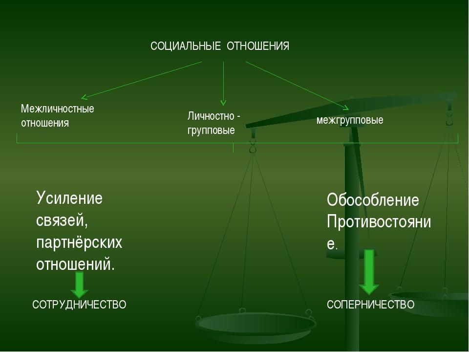 СОЦИАЛЬНЫЕ ОТНОШЕНИЯ Межличностные отношения Личностно - групповые межгруппов...