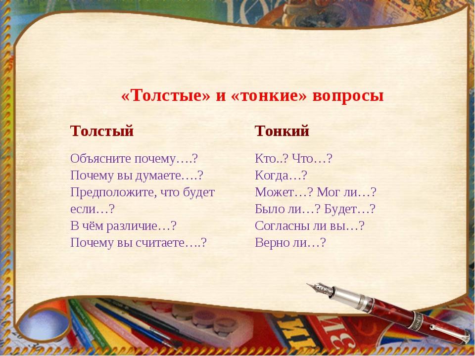 «Толстые» и «тонкие» вопросы ТолстыйТонкий Объясните почему….? Почему вы дум...