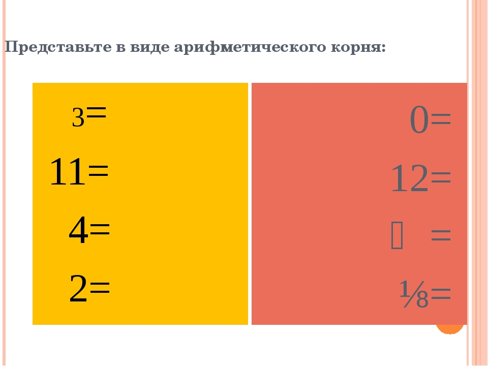 Представьте в виде арифметического корня: 3= 11= 4= 2= 0= 12= ⅗= ⅛=
