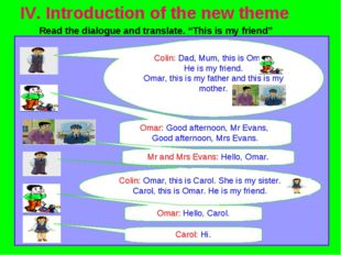 """IV. Introduction of the new theme Read the dialogue and translate. """"This is"""