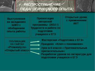 РАСПРОСТРАНЕНИЕ ПЕДАГОГИЧЕСКОГО ОПЫТА: Презентация авторской программы (2010