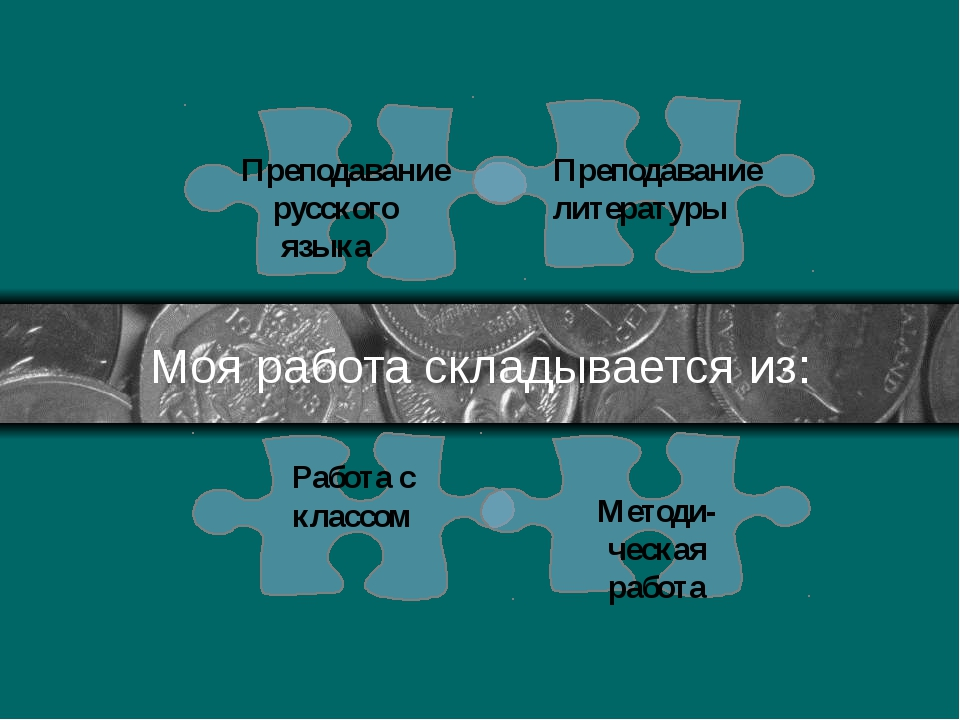 Моя работа складывается из: Преподавание русского языка Преподавание литерату...