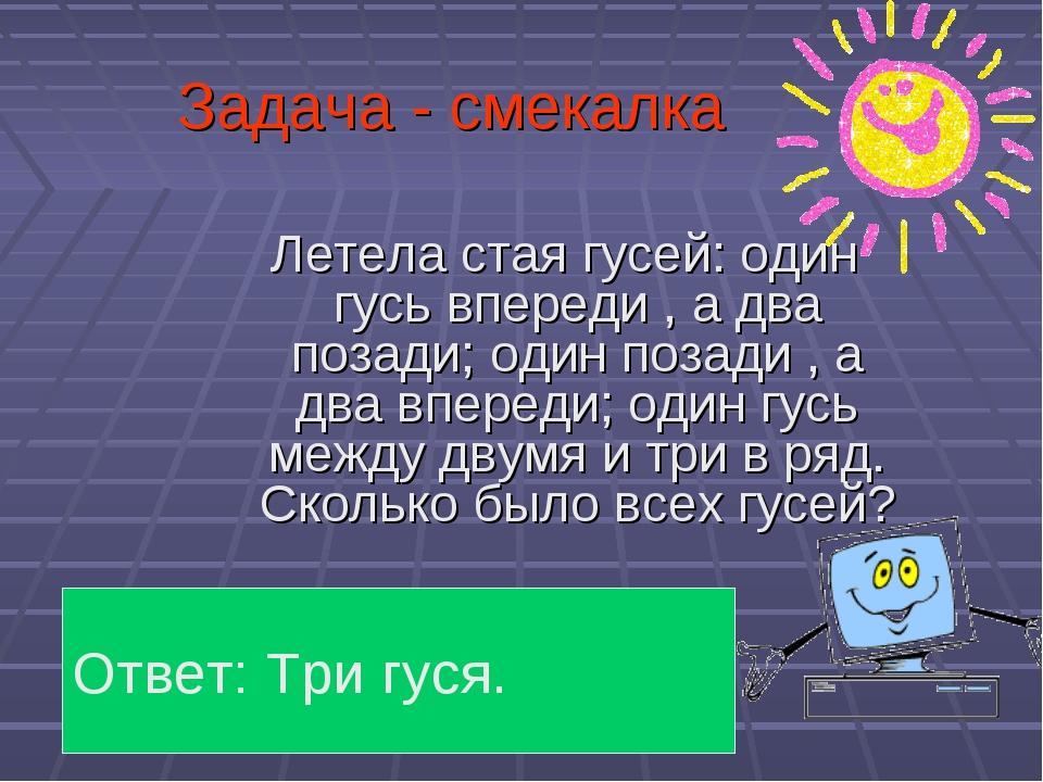 Задача - смекалка Летела стая гусей: один гусь впереди , а два позади; один п...