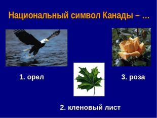 Национальный символ Канады – … 1. орел 3. роза 2. кленовый лист