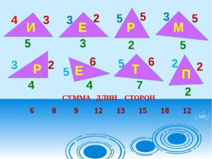 4 3 5 И 3 2 3 Е 3 5 5 5 5 2 Р М 3 2 2 2 2 5 5 4 4 6 6 7 Р Е Т П СУММА ДЛИН СТ