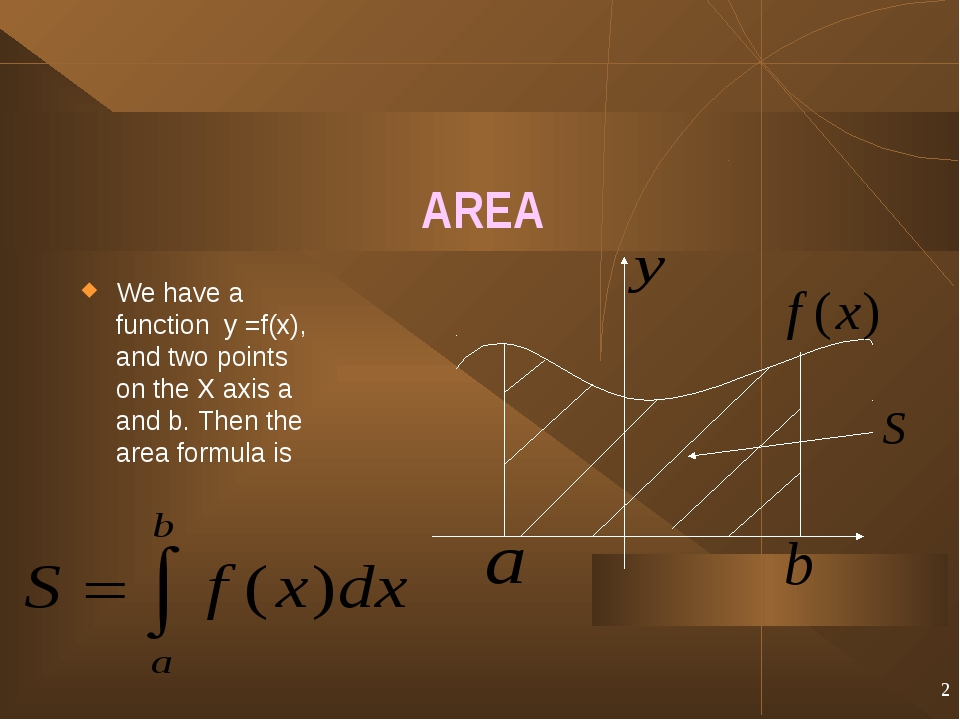 * AREA We have a function y =f(x), and two points on the X axis a and b. Then...