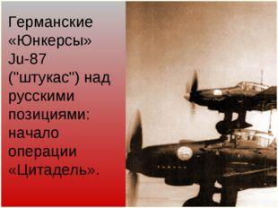 """Германские «Юнкерсы» Ju-87 (""""штукас"""") над русскими позициями: начало операции"""