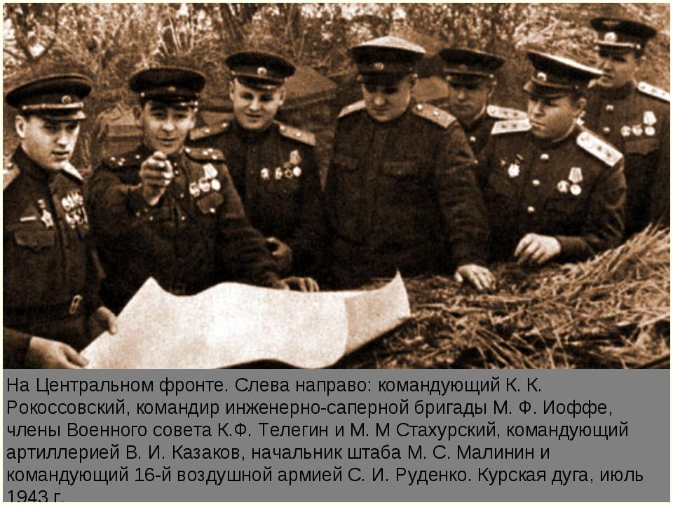 На Центральном фронте. Слева направо: командующий К. К. Рокоссовский, команди...