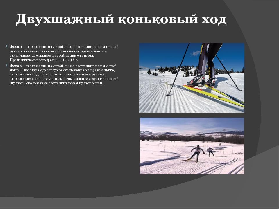 Двухшажный коньковый ход Фаза 1- скольжение на левой лыже с отталкиванием пр...