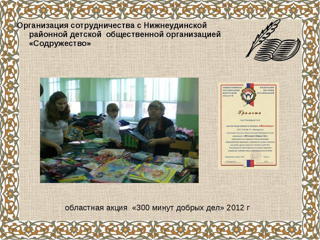 Организация сотрудничества с Нижнеудинской районной детской общественной орга...