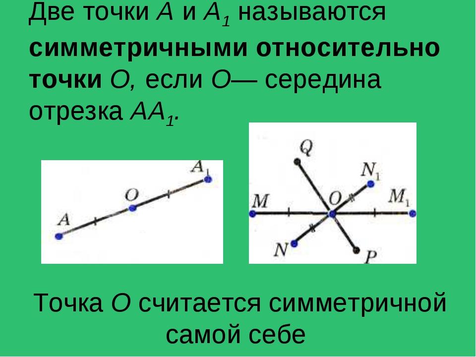 Две точки А и А1 называются симметричными относительно точки О, если О— серед...