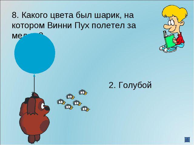 8. Какого цвета был шарик, на котором Винни Пух полетел за медом? 2. Го...