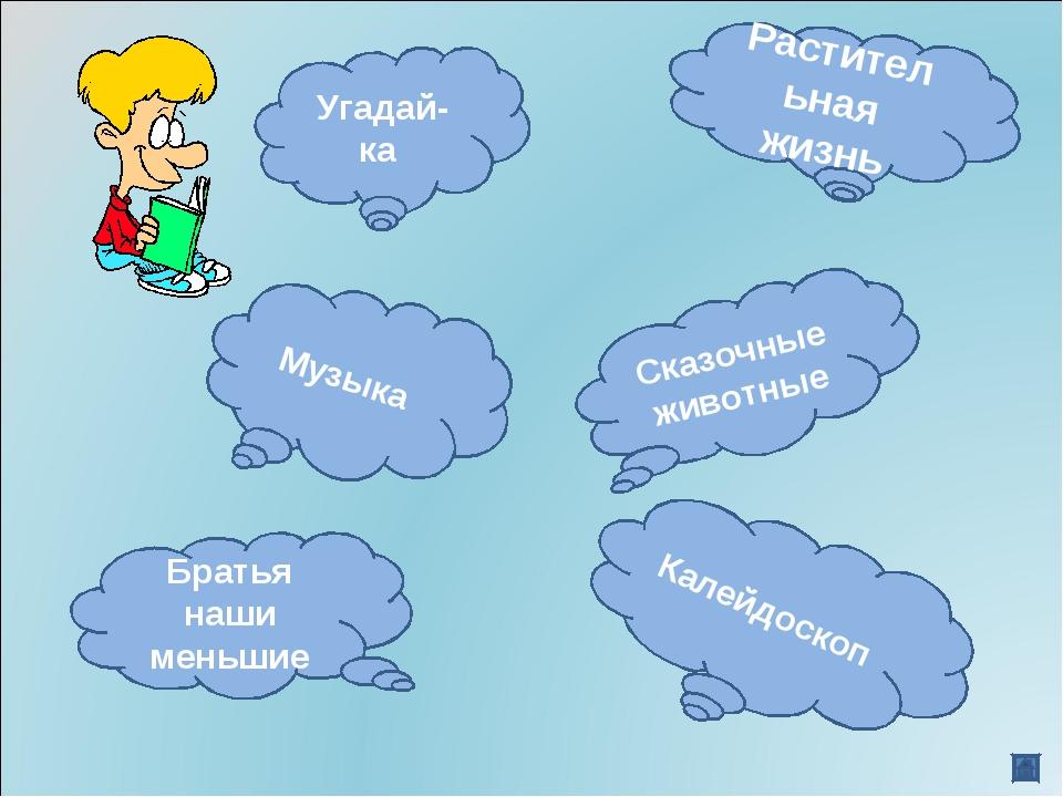 Растительная жизнь Калейдоскоп Музыка Угадай-ка Сказочные животные Братья наш...