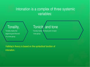 Intonation is a complex of three systemic variables: Tonality, Tonicity and