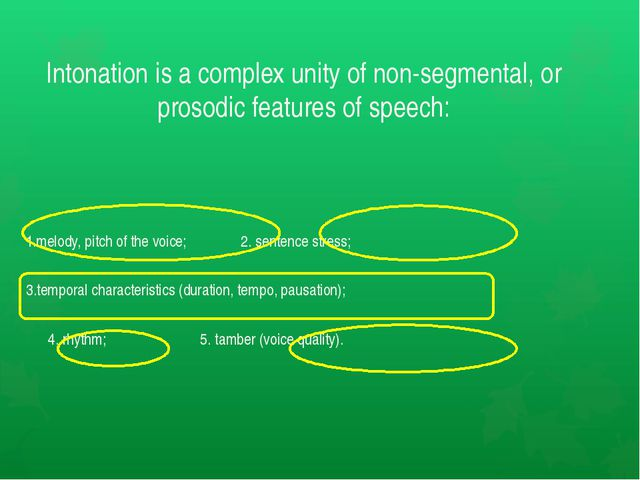 Intonation is a complex unity of non-segmental, or prosodic features of speec...