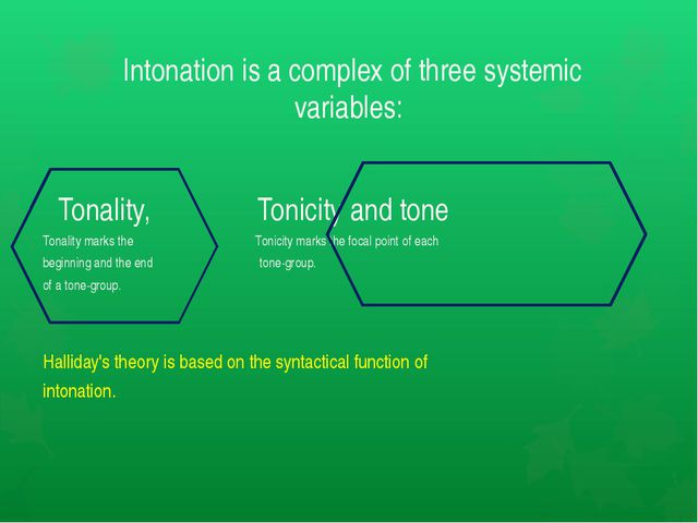 Intonation is a complex of three systemic variables: Tonality, Tonicity and...