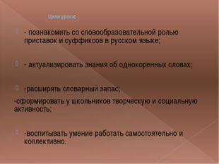 - познакомить со словообразовательной ролью приставок и суффиксов в русском