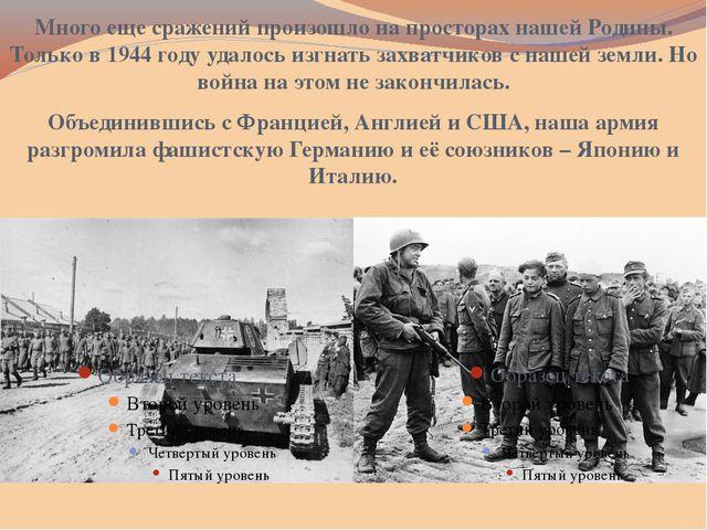 Много еще сражений произошло на просторах нашей Родины. Только в 1944 году уд...