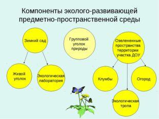 Компоненты эколого-развивающей предметно-пространственной среды Групповой уго