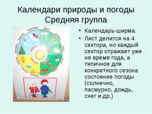Календари природы и погоды Средняя группа Календарь-ширма. Лист делится на 4