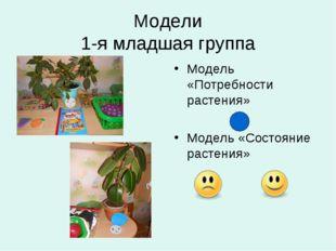 Модели 1-я младшая группа Модель «Потребности растения» Модель «Состояние рас