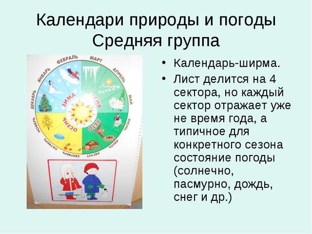 Календари природы и погоды Средняя группа Календарь-ширма. Лист делится на 4...