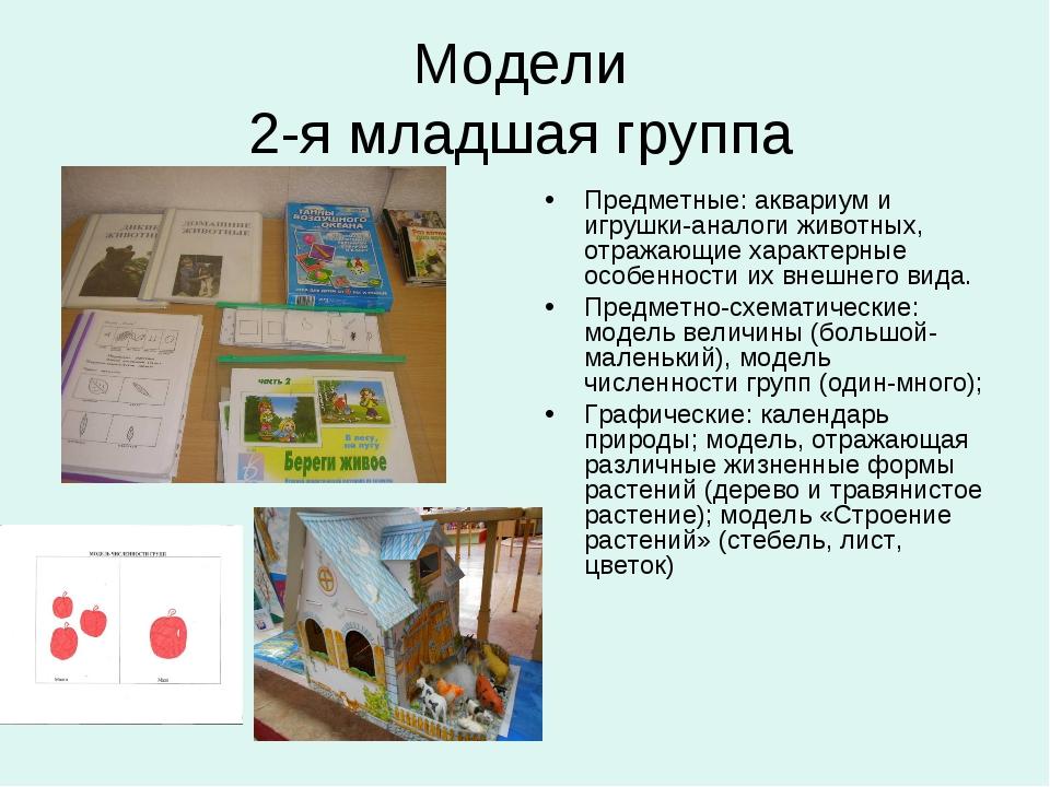 Модели 2-я младшая группа Предметные: аквариум и игрушки-аналоги животных, от...