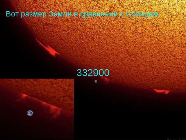 332900 Вот размер Земли в сравнении с Солнцем.