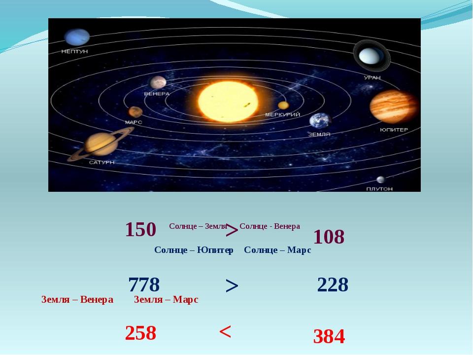 Солнце – Земля Солнце - Венера Солнце – Юпитер Солнце – Марс Земля – Венера З...