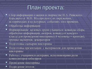 План проекта: Сбор информации о жизни и творчестве Н.А. Римского- Корсакого и