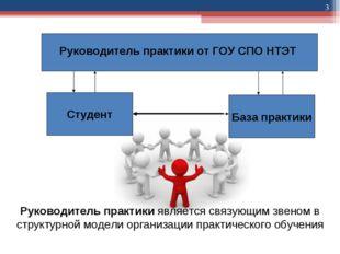 * Руководитель практики от ГОУ СПО НТЭТ Студент База практики Руководитель пр