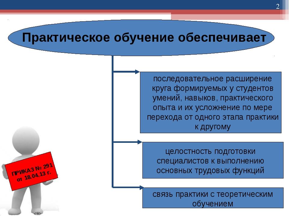 * Практическое обучение обеспечивает последовательное расширение круга формир...
