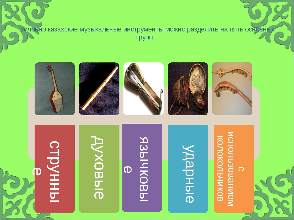 Условно казахские музыкальные инструменты можно разделить на пять основных г...