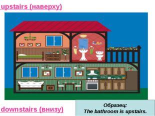 upstairs (наверху) downstairs (внизу) Образец: The bathroom is upstairs.