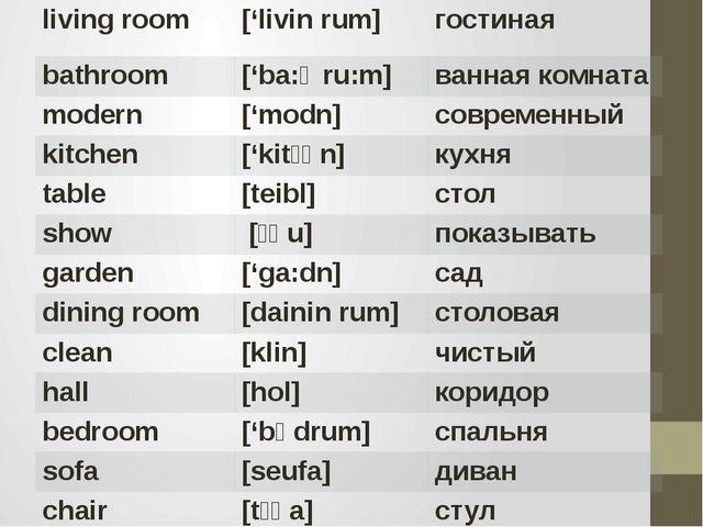 living room ['livinrum] гостиная bathroom ['ba:Өru:m] ваннаякомната modern ['...