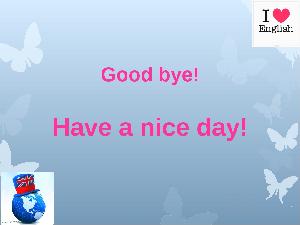 Good bye! Have a nice day!