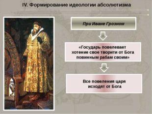 IV. Формирование идеологии абсолютизма При Алексее Михайловиче Царь призван п