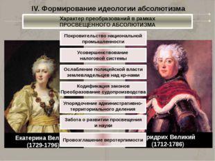 IV. Формирование идеологии абсолютизма Русский вариант «Просвещенного абсолют