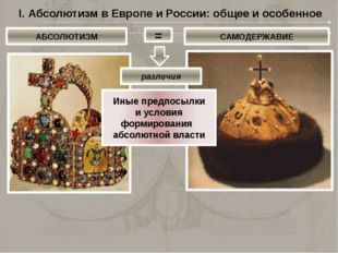 I. Абсолютизм в Европе и России: общее и особенное АБСОЛЮТИЗМ = САМОДЕРЖАВИЕ