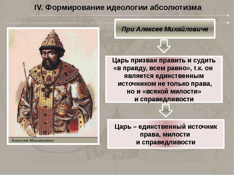 IV. Формирование идеологии абсолютизма При Петре Великом Власть царя представ...