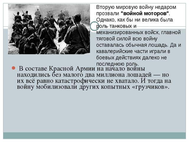В составе Красной Армии на начало войны находились без малого два миллиона л...