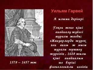 1578 – 1657 жж. Уильям Гарвей Ағылшын дәрігері Үлкен және кіші қанайналу жүйе