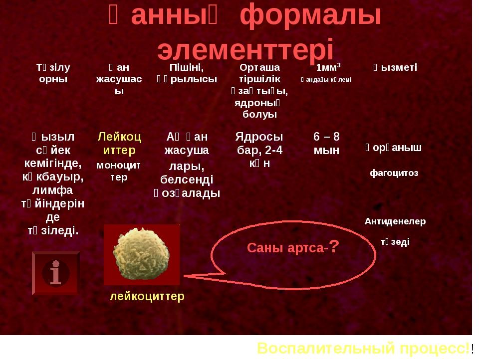 Қанның формалы элементтері лейкоциттер Саны артса-? Воспалительный процесс!!...